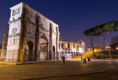 Arch of Constantine. The Arch of Constantine near the Colosseum at night Stock Photography