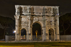 Arch of Constantine near the Colosseum at night. Royalty Free Stock Images