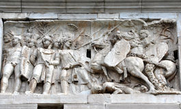 Arch of Constantine near the Colosseum in Rome, Italy. Basorelief, sculpture detail on the Arch of Constantine in Rome, Italy Royalty Free Stock Photography