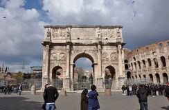 Arch of Constantine near the Colosseum in Rome, Italy Royalty Free Stock Images