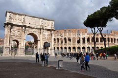 Arch of Constantine near the Colosseum in Rome, Italy Royalty Free Stock Image