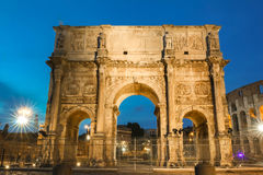 The Arch of Constantine near the colosseum in Rome, Italy. Night view of Arch of Constantine near the colosseum in Rome, Italy Stock Photography