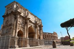 The Arch of Constantine near the colosseum in Rome, Italy. The view of Arch of Constantine near the colosseum in Rome, Italy Stock Photo