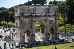 The Arch of Constantine near the Colosseum in Rome Italy. The Colosseum was the Flavian Amphitheatre built by Vespasian in what was the lake of Nero's Golden Royalty Free Stock Images