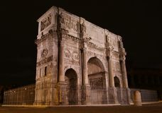 The Arch of Constantine at night. The Arch of Constantine near the Colisseum at night, Rome, Italy Royalty Free Stock Images