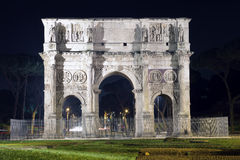 Arch of Constantine. Night image of the Arch of Constantine in Rome , Italy Stock Photos