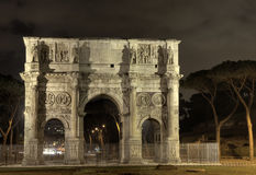 Arch of Constantine at night, Rome. Illuminated Arch of Constantine at night, Rome, Italy Royalty Free Stock Images