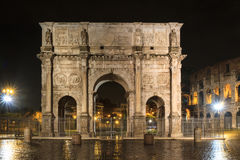 Arch of Constantine at night. Rome, Italy Stock Photo
