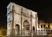 Arch of Constantine at night. Rome, Italy Stock Images