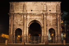 Arch of Constantine. By night in Rome, Italy Royalty Free Stock Photo