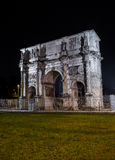 Arch of Constantine at night. Night view of Arch of Constantine at night , Rome, Italy Stock Photo