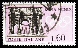 Arch of Constantine, Pre-Olympic, Rome Olympics of 1960 serie, circa 1959. MOSCOW, RUSSIA - FEBRUARY 10, 2019: A stamp printed in Italy shows Arch of Constantine royalty free stock images