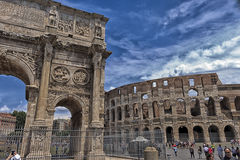 Arch of Constantine & Roman Colosseum Stock Photos