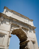 The Arch of Constantine, Roman Forum, Rome, Italy. A low angle view with copy space looking up at the Arch of Constantine in the Roman Forum remains, Rome, Italy Stock Photos