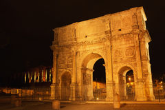 Arch of Constantine. At the Roman Forum in Rome at night, Italy Stock Images