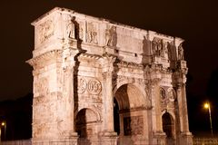 Arch of Constantine in Rome. Arch of Constantine near the Colosseum (Arco di Costantino) night view Stock Photography