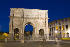 Arch of Constantine, Rome. The Arch of Constantine is a triumphal arch in Rome, situated between the Colosseum and the Palatine Hill Royalty Free Stock Photography