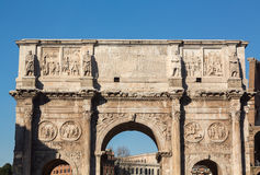 Arch of Constantine in Rome. Detail of arch of Constantine and Colosseum in Ancient Rome Royalty Free Stock Photography