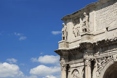 Arch of Constantine in Rome. Ancient Arch of Constantine in Rome with blue sky and copy space Royalty Free Stock Photos