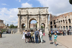 Arch of Constantine,Rome. Apr 20 2015 Arch of Constantine and temple of Venus. In Rome, there are many ancient buildings and so there is always a lot of tourists Royalty Free Stock Image