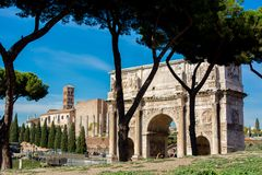 The arch of constantine in rome. On blue sky background Royalty Free Stock Image
