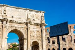 The arch of constantine in rome. On blue sky background Royalty Free Stock Photography