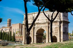 The arch of constantine in rome. On blue sky background Royalty Free Stock Photos