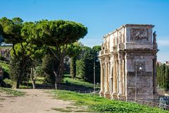 The arch of constantine in rome. On blue sky background Stock Photography