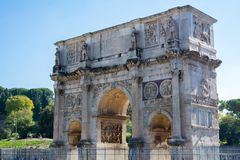 The arch of constantine in rome. On blue sky background Stock Images