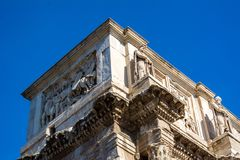 The arch of constantine in rome. On blue sky background Stock Photos