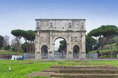 The Arch of Constantine in Rome city. Italy Stock Images
