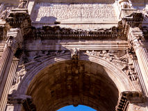 Arch of Constantine, Rome. Close up of the carvings, Latin writings and details of the Arch of Constantine. In Rome, Italy Stock Photos