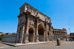 Arch of Constantine in Rome by day. View of the Arch of Constantine in Rome on a sunny day Royalty Free Stock Image