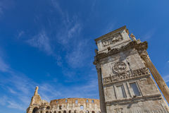 Arch of Constantine in Rome. Detail of Arch of Constantine in Rome, Italy Stock Photos
