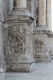 Arch of Constantine in Rome. Detail of the Arch of Constantine in Rome, Italy. The Arch of Constantine is a triumphal arch in Rome, situated between the Stock Image