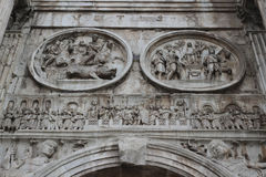 Arch of Constantine in Rome. Detail of the Arch of Constantine in Rome, Italy. The Arch of Constantine is a triumphal arch in Rome, situated between the Stock Photography