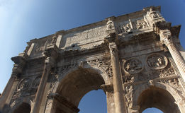 Arch of Constantine Rome Italy. Stone arch was built in the year 315 to celebrate Constantine's victory in 312 over co-emperor Maxenntius at Milvian Bridge Royalty Free Stock Photos