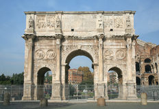 The Arch of Constantine, Rome, Italy. The Arch of Constantine or Arco di Costantinoin Italian, is the triumphal arch in Rome, situated between the Colosseum and Stock Images