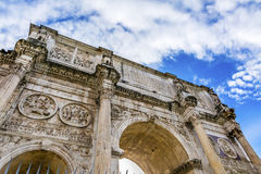 Arch of Constantine Rome Italy. Arch built in 315 AD to celebrate Emperor Constantine`s victory in 312 over co-emperor Maxenntius.  Constantine attributed Stock Photo