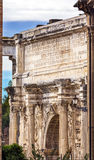 Arch of Constantine Rome Italy. Arch built in 315 AD to celebrate Emperor Constantine`s victory in 312 over co-emperor Maxenntius.  Constantine attributed Royalty Free Stock Photos