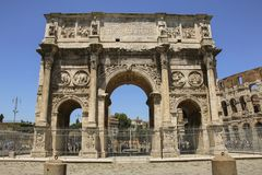 Arch of Constantine in Rome, Italy. Arch of Constantine in Rome on a sunny day, Italy Royalty Free Stock Image
