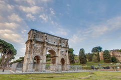Arch of Constantine in Rome, Italy. Arch of Constantine (Arco di Costantino), a triumphal arch in Rome, located between the Colosseum and the Palatine Hill Royalty Free Stock Photo