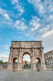 Arch of Constantine in Rome, Italy. Arch of Constantine Arco di Costantino, a triumphal arch in Rome, located between the Colosseum and the Palatine Hill Stock Photography