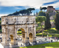 Arch of Constantine Rome Italy. Arch built in 315 AD to celebrate Emperor Constantine`s victory in 312 over co-emperor Maxenntius.  Constantine attributed Royalty Free Stock Image
