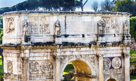 Arch of Constantine Rome Italy. Arch built in 315 AD to celebrate Emperor Constantine`s victory in 312 over co-emperor Maxenntius.  Constantine attributed Royalty Free Stock Photo