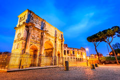 Arch of Constantine, Rome, Italy. Rome, Italy. Arch of Constantine, commemorate emperor victory over Maxentius in 312AD, Roman Empire civil war Stock Images