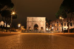 Arch of Constantine in Rome, Italy. Arch of Constantine at night in Rome, Italy Royalty Free Stock Photos