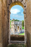 Arch of Constantine. Rome, Italy - October 18, 2015 : View of the Arch  of Constantine and tourists from the Colosseum on October 18, 2015 Royalty Free Stock Photos