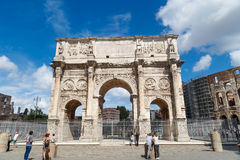Arch of Constantine. ROME, ITALY - SEPTEMBER 24, 2015 : View of historical Triumphal Arch of Constantine, built in 315 AD in Rome, on cloudy blue sky background Royalty Free Stock Photos