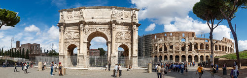 Arch of Constantine. ROME, ITALY - SEPTEMBER 24, 2015 : View of historical Triumphal Arch of Constantine, built in 315 AD in Rome, on cloudy blue sky background Royalty Free Stock Images